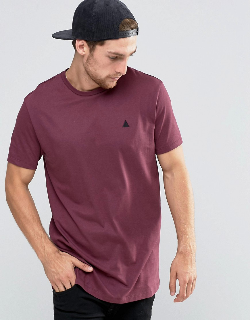 ASOS Longline T-Shirt With Logo In Red - Red