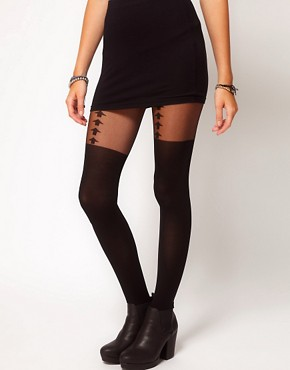 Image 1 ofASOS Arrow Suspender Tights