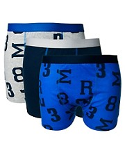 River Island 3 Pack Varsity Print Trunks