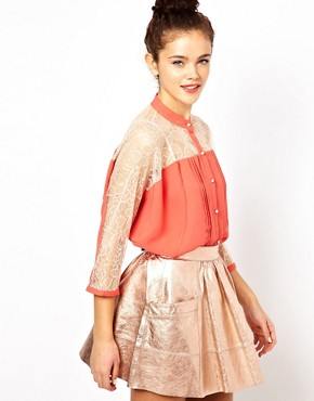 Image 1 ofDarling Lace Panel Batwing Blouse