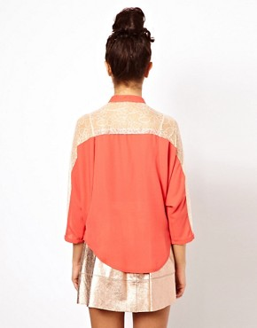 Image 2 ofDarling Lace Panel Batwing Blouse