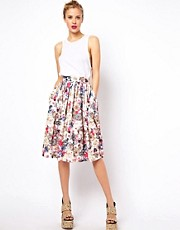 ASOS Midi Skirt in Floral Jewel Print