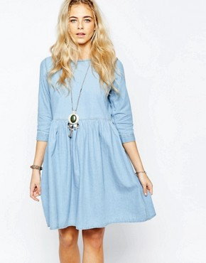 Boohoo Oversized Denim Smock Dress