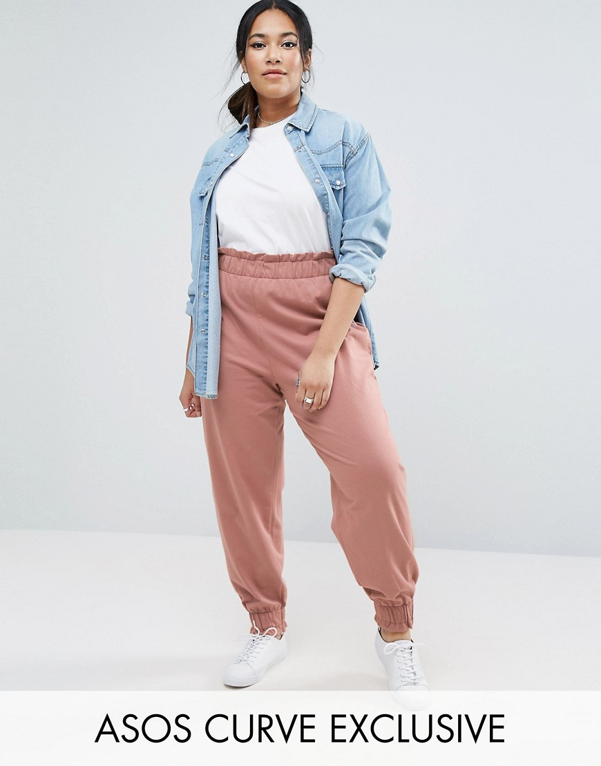 ASOS CURVE Tapered Sweat Pant With Gathered Waistband And Cuff - Pink