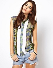 ASOS Africa Printed Blouse with Contrast Panels