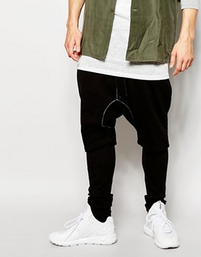 ASOS Meggings With Drop Crotch Short In Black