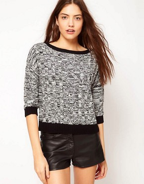 Image 1 ofVero Moda Contrast Trim Chunky Cable Knit Jumper