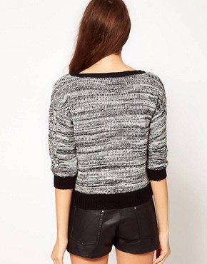 Image 2 ofVero Moda Contrast Trim Chunky Cable Knit Jumper
