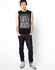 ASOS Sleeveless T-Shirt With Silence Print