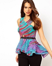 Lipsy Cross Front Top in Strobe Print