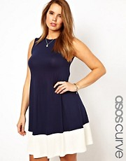 ASOS CURVE Exclusive Swing Dress With Colourblock Hem
