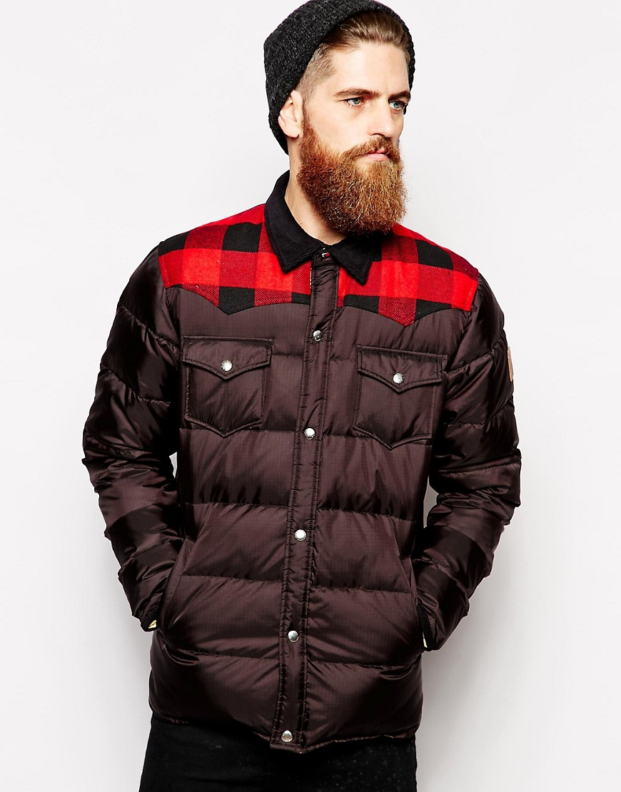 Penfield Rockford Down Fill Jacket with Check Yoke - Black