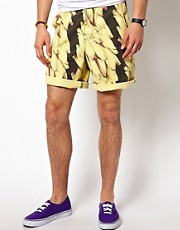 "Jimmy'Z Shorts Flat Front Surf Leash 19"" Banana Print"