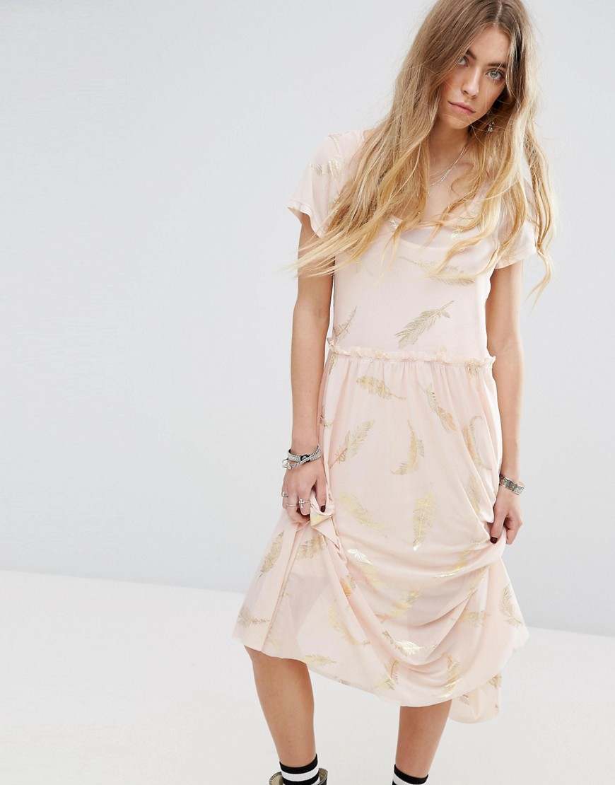 Minkpink Beauty And The Beast Sheer Layer Smock Dress With Feather Print