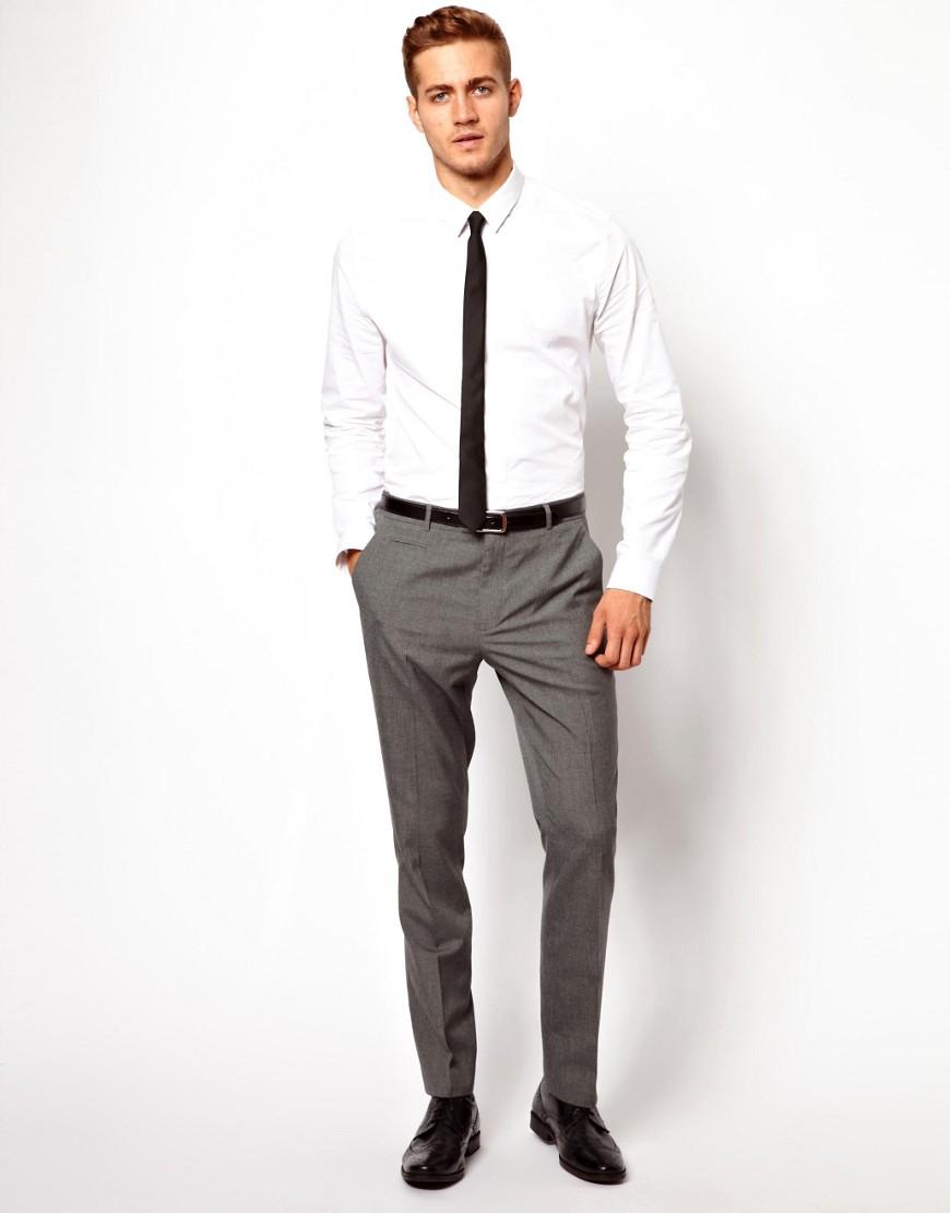 Image 4 ofASOS Slim Smart Work Trousers in Mid Grey