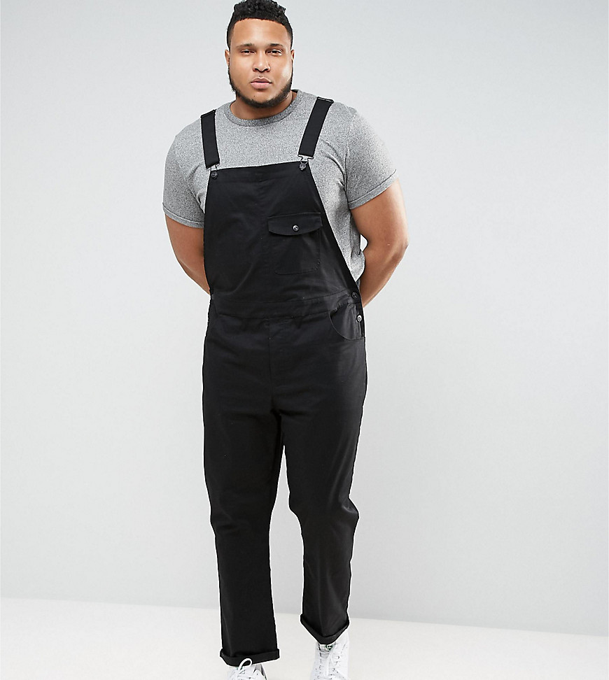 ASOS DESIGN Plus chino dungarees in black