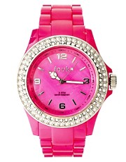 French Connection Pink Stone Set Plastic Watch