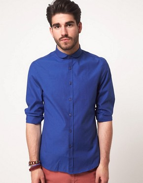 Image 1 ofASOS Slim Fit Curved Collar Shirt