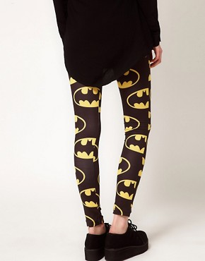 Image 2 of Lazy Oaf x Batman Exclusive Leggings In Bat Logo Print