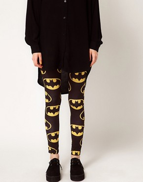 Image 4 of Lazy Oaf x Batman Exclusive Leggings In Bat Logo Print