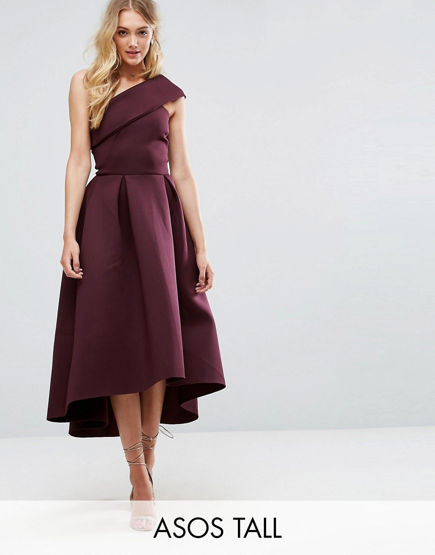 ASOS TALL One Shoulder Foam Scuba Dip Back Midi Skater Dress - Aubergine