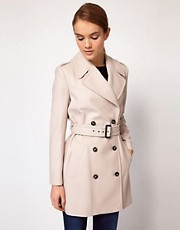 French Connection Trench Coat in Wool Blend