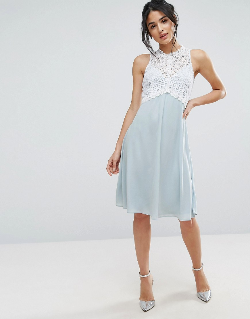 Elise Ryan Midi Dress With Crochet Lace Bodice