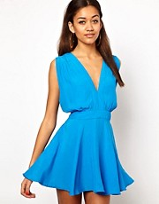 Motel Eloise Skater Dress with Plunge V Neck