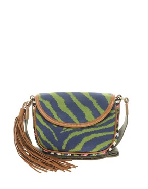 Image 1 ofM Missoni Zebra Across Body Bag with Crochet Trim and Studded Strap