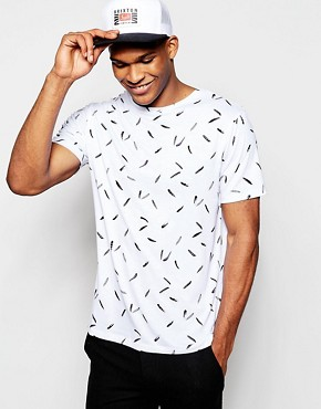 River Island Short Sleeve T-Shirt in Feather Print