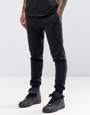 ASOS Skinny Joggers With Rips And Distressing In Black