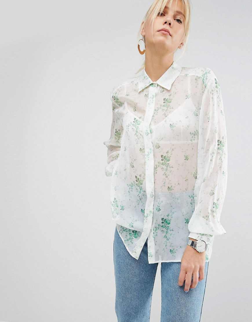 Sportmax Code Blouse in Sheer Floral - White