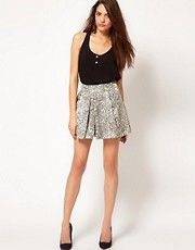 Vero Moda Metallic Snake Jacquard Skirt
