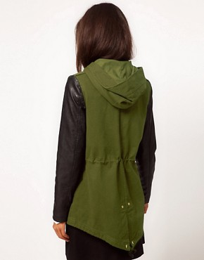 Image 2 ofASOS Parka with Contrast PU Sleeves