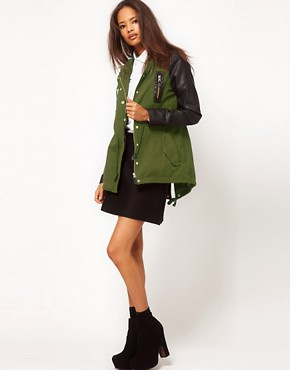 Image 4 ofASOS Parka with Contrast PU Sleeves