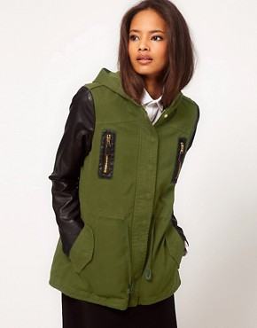 Image 1 ofASOS Parka with Contrast PU Sleeves