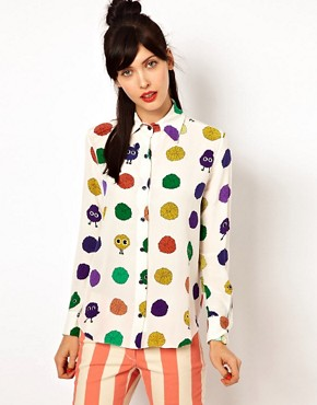 Image 1 of House of Holland Long Sleeve Blouse in Pom Pom Spot