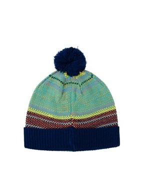 Image 3 ofASOS Bobble Beanie With Multi Colour Birdseye Stitch