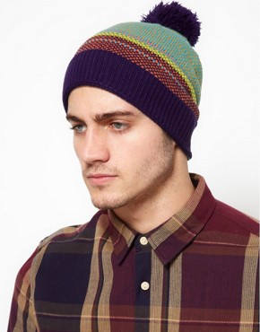 Image 4 ofASOS Bobble Beanie With Multi Colour Birdseye Stitch