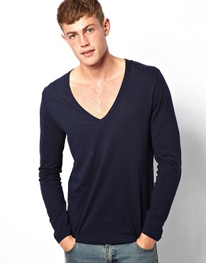 Image 1 ofASOS Long Sleeve T-Shirt With Deep V