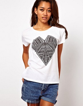 Image 1 of Illustrated People Diamond Heart Print T-Shirt