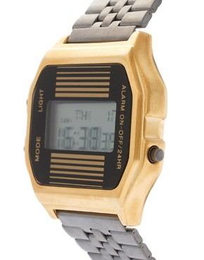 Image 3 ofASOS 2 Tone Retro Digital Watch
