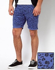 ASOS Denim Shorts With Leopard Print