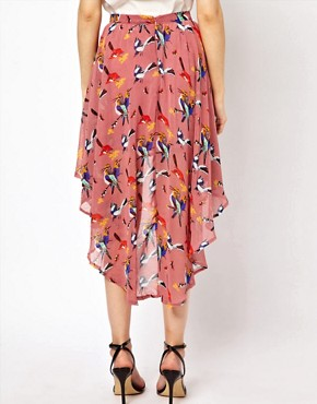 Image 2 ofGlamorous Bird Print Hi Lo Skirt