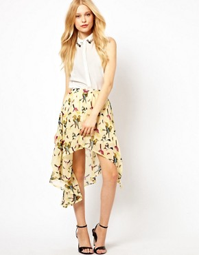 Image 1 ofGlamorous Bird Print Hi Lo Skirt