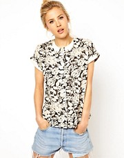 ASOS Blouse With Floral Print And Curved Collar