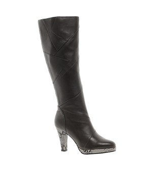 Image 1 ofFiona McGuinness Again Leather Knee High Boot With Snakeskin Platform