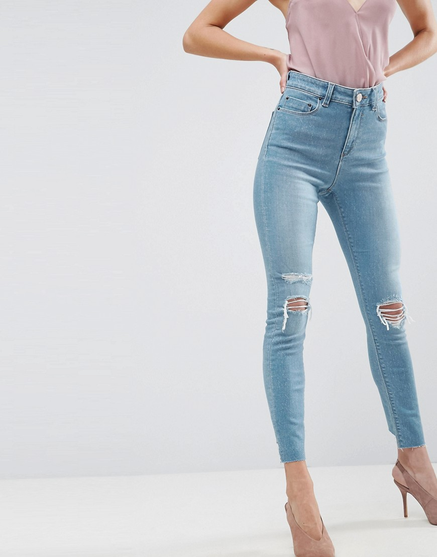cac03fe7 ASOS RIDLEY High Waist Skinny Jeans in Albie Lightwash Blue with Rips and  Reverse Stepped Hems