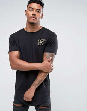 SikSilk Muscle T-Shirt In Black With Gold Logo