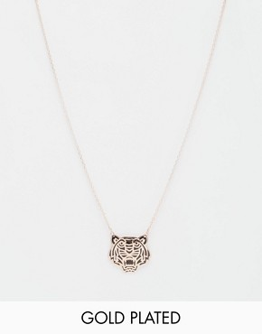 Kenzo Rose Gold Plated Tiger Laquer Necklace
